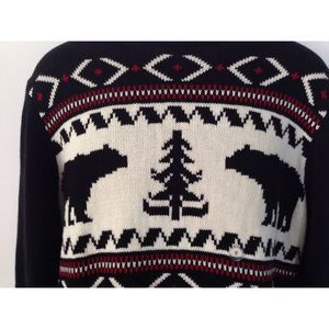 Chaps Pullover Sweater Animal Bear Print Cotton S
